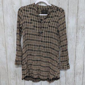 Reformation Brown Plaid Shirtdress